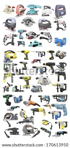 Tools under the white background - stock photo