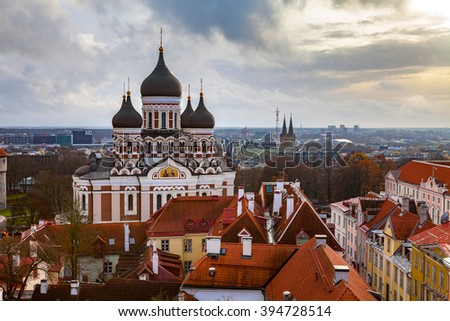 Toompea hill with Russian Orthodox Alexander Nevsky Cathedral, view from the Dome church, Tallinn, Estonia - stock photo