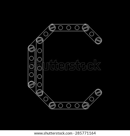 Toon letter (c) with rivets and screws isolated on black background  - stock photo