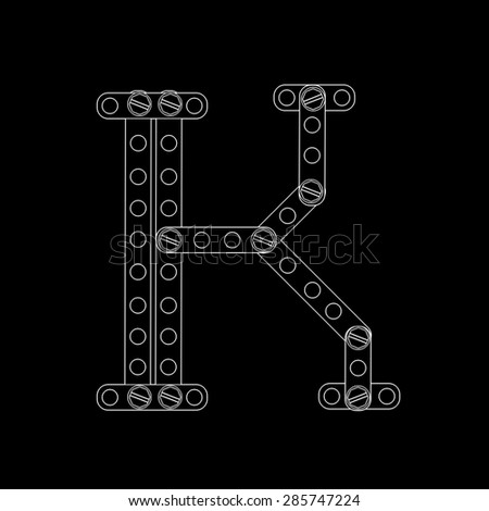 Toon letter (k) with rivets and screws isolated on black background  - stock photo