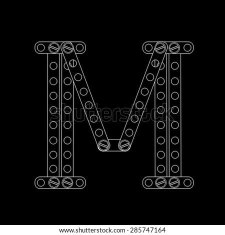 Toon letter (M) with rivets and screws isolated on black background  - stock photo