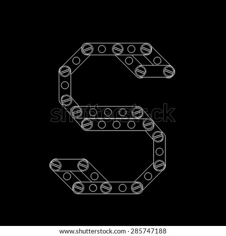 Toon letter (S) with rivets and screws isolated on black background  - stock photo