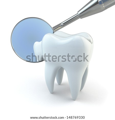 Tooth and dental equipment on white background. 3d - stock photo