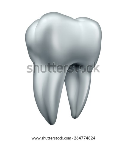 Tooth and dental health care symbol as an icon for healthy human bright white teeth as an isolated molar on a white background. - stock photo