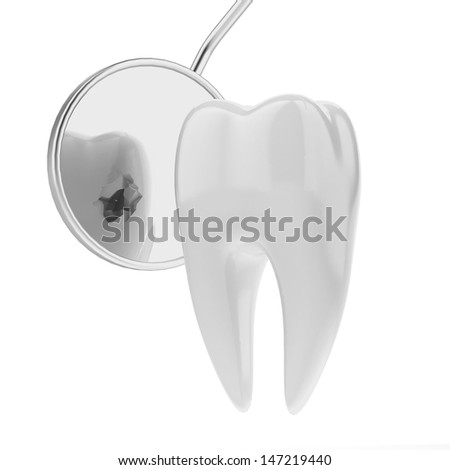 tooth and  dentist mouth mirror - stock photo