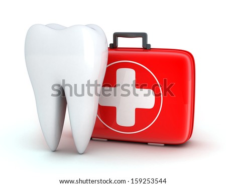 Tooth and Medicine chest on white background (done in 3d) - stock photo