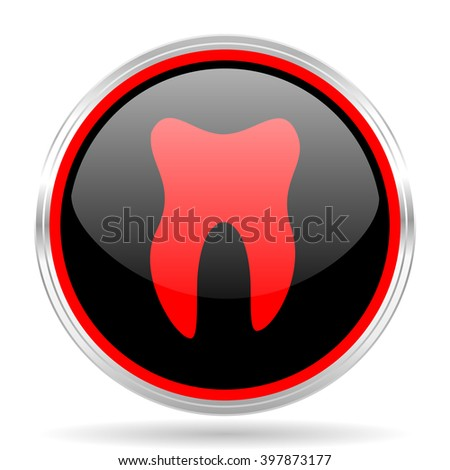 tooth black and red metallic modern web design glossy circle icon