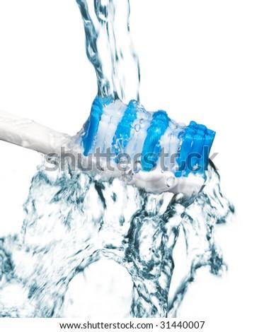 tooth brush under water - stock photo