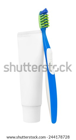 Tooth brush with tooth paste, isolated on white background - stock photo