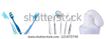 Tooth care collage isolated on white - stock photo