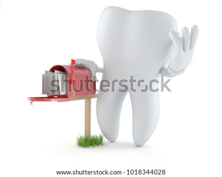 Tooth character with mailbox isolated on white background. 3d illustration