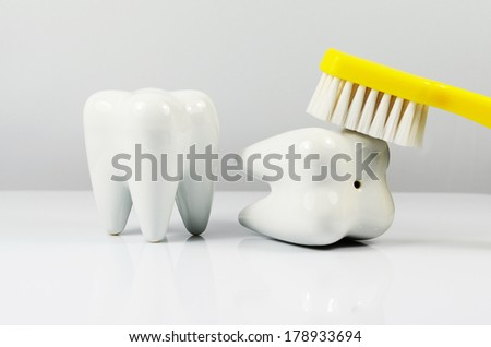 Tooth cleaning - stock photo