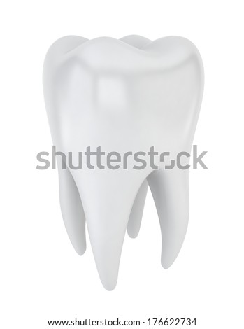 Tooth. 3d illustration on white background  - stock photo