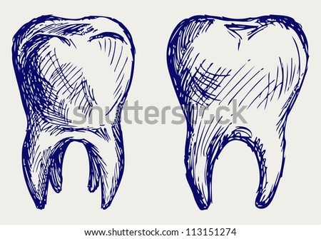 Tooth. Doodle style. Raster version - stock photo