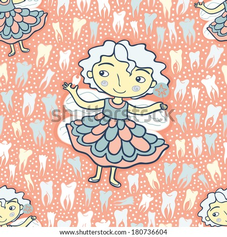 Tooth fairy pink seamless pattern. Raster version.