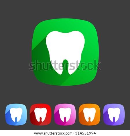 Tooth icon flat web sign symbol logo label set - stock photo