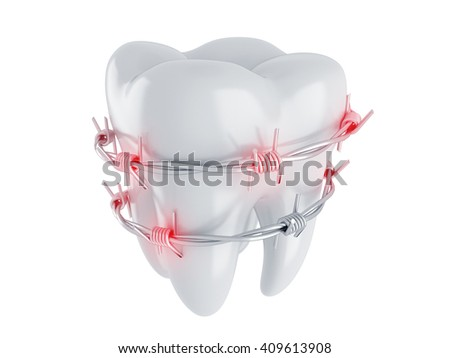 Tooth in barbed wire. Pain. 3d render
