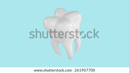 Tooth on blue background. 3d render - stock photo