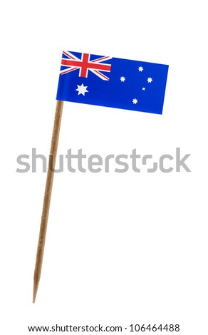 Tooth pick wit a small paper flag of Australia - stock photo