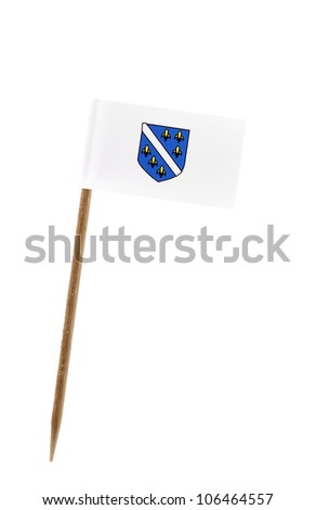 Tooth pick wit a small paper flag of Bosnia Herzegovina