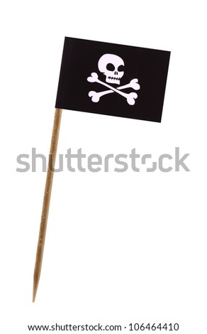 Tooth pick wit a small paper pirate flag