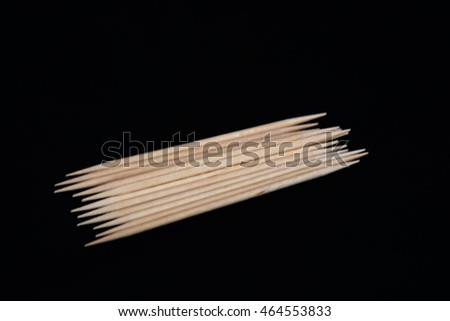 Tooth picks on a black background