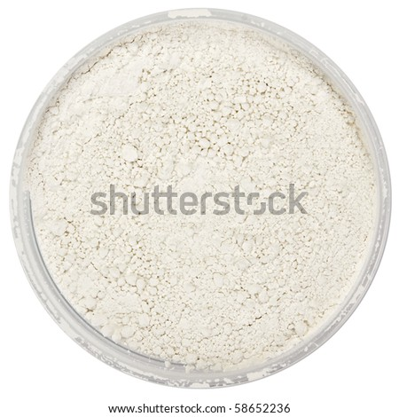 Tooth powder in can isolated on white - stock photo