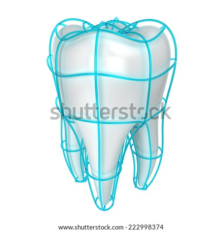 Tooth protection. 3d illustration isolated on white background  - stock photo