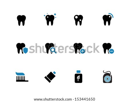 Tooth, teeth duotone icons on white background. See also vector version. - stock photo