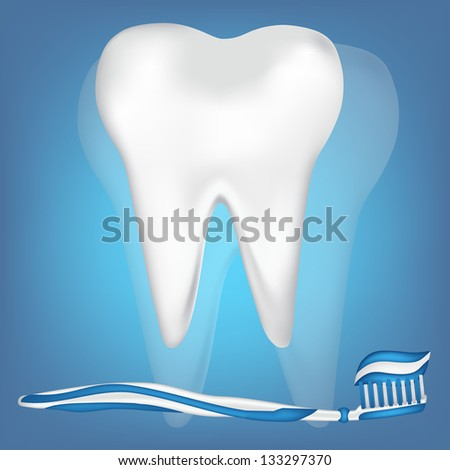 tooth, toothpaste illustration. jpg version - stock photo
