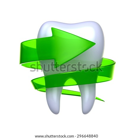 Tooth with arrow isolated on white background. - stock photo