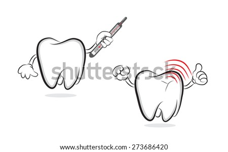Tooth with mercury thermometer offering another one with inflammation - stock photo