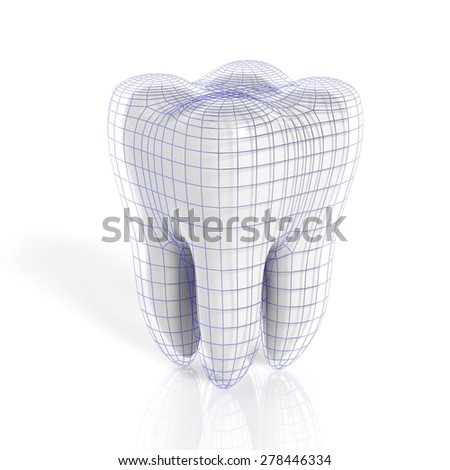 Tooth with virtual grid isolated on white background - stock photo
