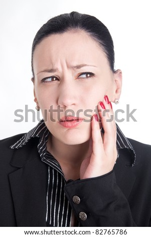 Toothache at work - stock photo