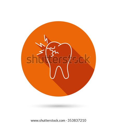 Toothache icon. Dental healthcare sign. Round orange web button with shadow. - stock photo