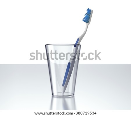 toothbrush in glass isolated on white background.
