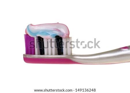Toothbrush isolated over a white background / dental hygiene - stock photo