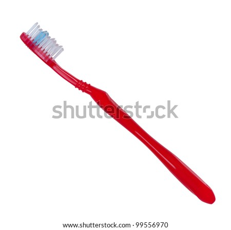 Toothbrush red color isolated on white background. - stock photo