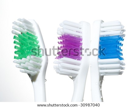 Toothbrushes and water drop