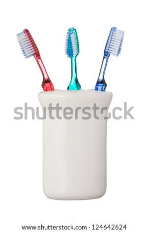 Toothbrushes isolated on white background - stock photo