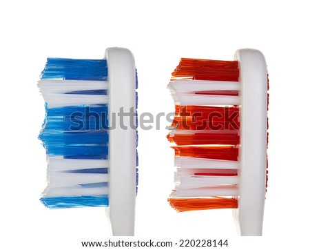 Toothbrushes isolated on white background - stock photo