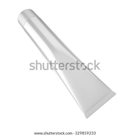 Toothpaste Tube for Cosmetic Package Mock up. Easy place your design on this blank surface. 3D Illustration