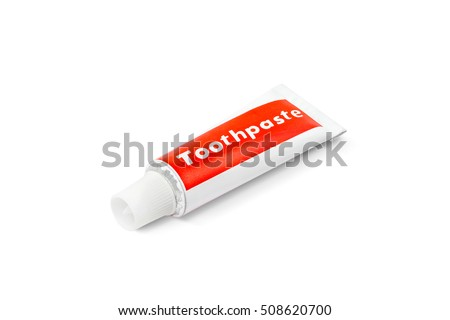 toothpaste tube isolated on white background with clipping path