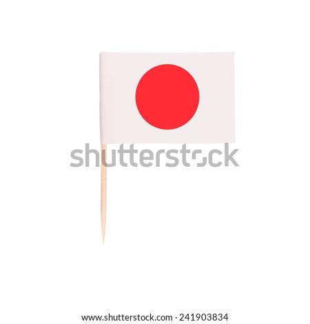 Toothpick Flag Japan. Paper Japanese flag . Isolated on white background - stock photo