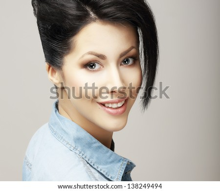 Toothy Smile. Face of Delighted Friendly Woman with Natural Clean Skin. Freshness