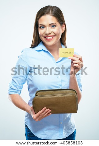 Toothy smiling young business woman hold credit card. White background isolated.