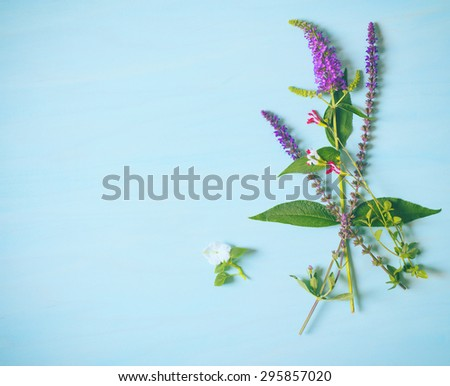 Top Above View of Pretty Purple, Red and White Flowers in Casual, Vertical Bunch on Cyan blue Painted, Rustic Wood Board Background with empty room or space for copy, text, your words.  Horizontal