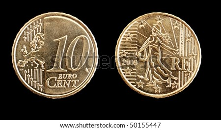 Top and back view  of a 10 cent Euro coin isolated on black - stock photo