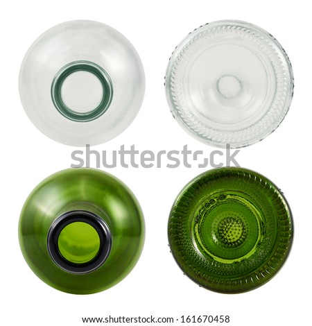 Top and bottom sides of glass bottle isolated over white background, set of green and transparent bottles - stock photo