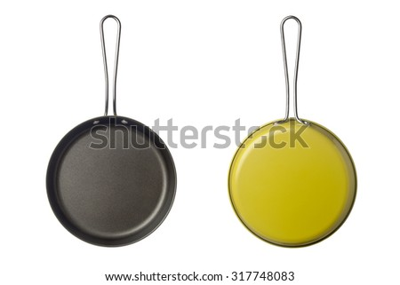 Top and bottom view of a small skillet isolated on white background